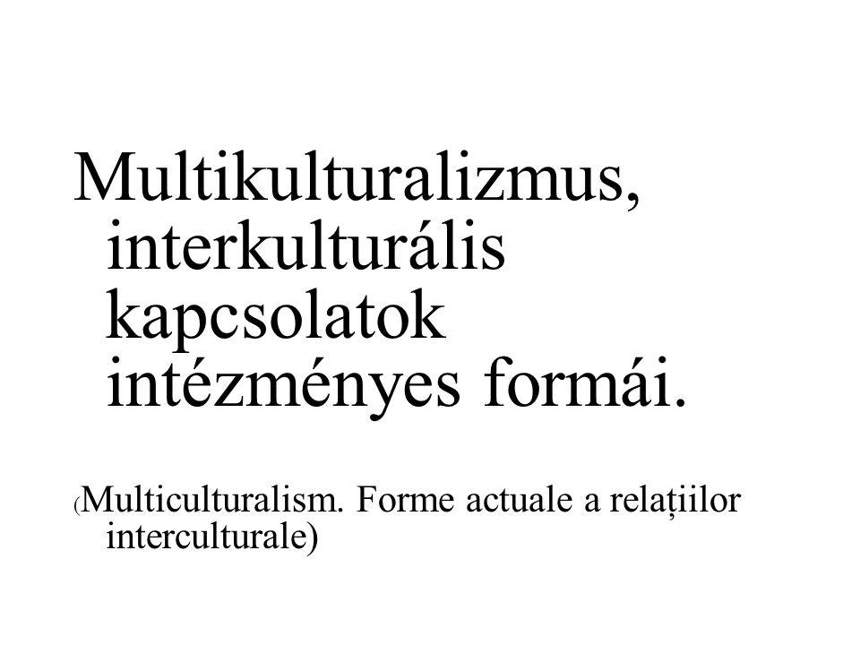 Multikulturalizmus, interkulturális kapcsolatok intézményes formái.