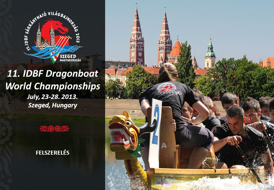 11. IDBF Dragonboat World Championships July, 23-28. 2013. Szeged, Hungary FELSZERELÉS