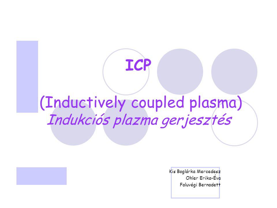 ICP (Inductively coupled plasma) Indukciós plazma gerjesztés Kis Boglárka Mercedesz Ohler Erika-Éva Faluvégi Bernadett