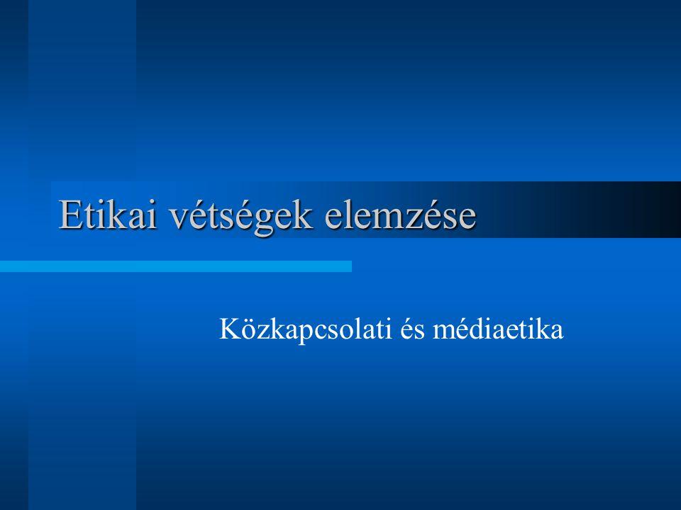 Etikai vétségek elemzése Közkapcsolati és médiaetika