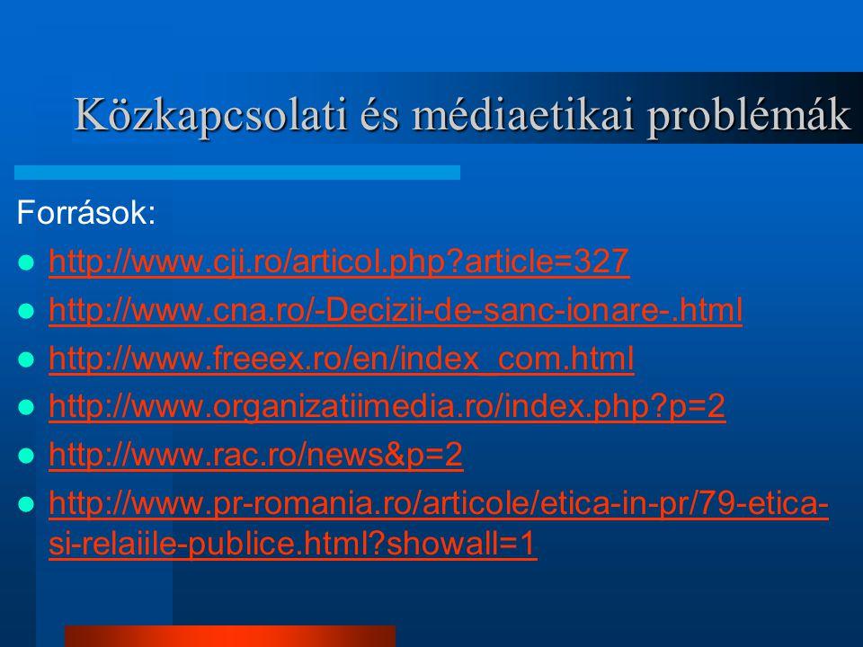 Közkapcsolati és médiaetikai problémák Források: http://www.cji.ro/articol.php?article=327 http://www.cna.ro/-Decizii-de-sanc-ionare-.html http://www.freeex.ro/en/index_com.html http://www.organizatiimedia.ro/index.php?p=2 http://www.rac.ro/news&p=2 http://www.pr-romania.ro/articole/etica-in-pr/79-etica- si-relaiile-publice.html?showall=1 http://www.pr-romania.ro/articole/etica-in-pr/79-etica- si-relaiile-publice.html?showall=1