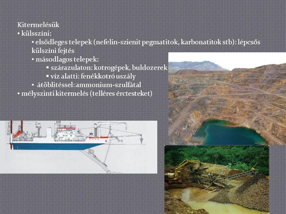 Kitermelésük külsszíni: elsődleges telepek (nefelin-szienit pegmatitok, karbonatitok stb): lépcsős külszíni fejtés másodlagos telepek:  szárazulaton: kotrogépek, buldozerek  víz alatti: fenékkotró uszály átöblitéssel: ammonium-szulfátal mélyszinti kitermelés (telléres érctesteket)