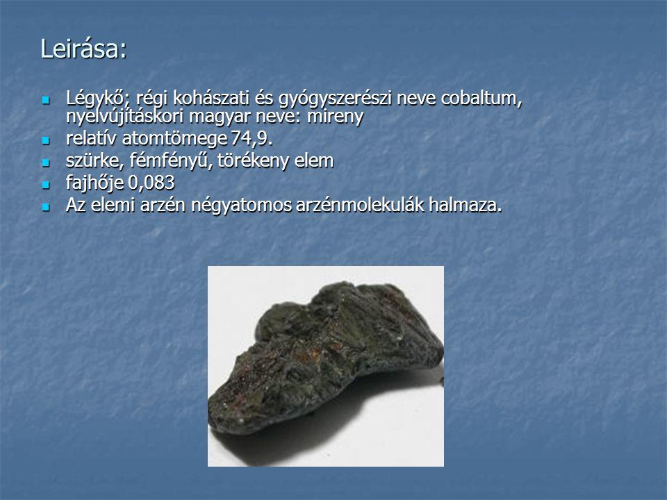 Leirása: Légykő; régi kohászati és gyógyszerészi neve cobaltum, nyelvújításkori magyar neve: mireny Légykő; régi kohászati és gyógyszerészi neve cobal