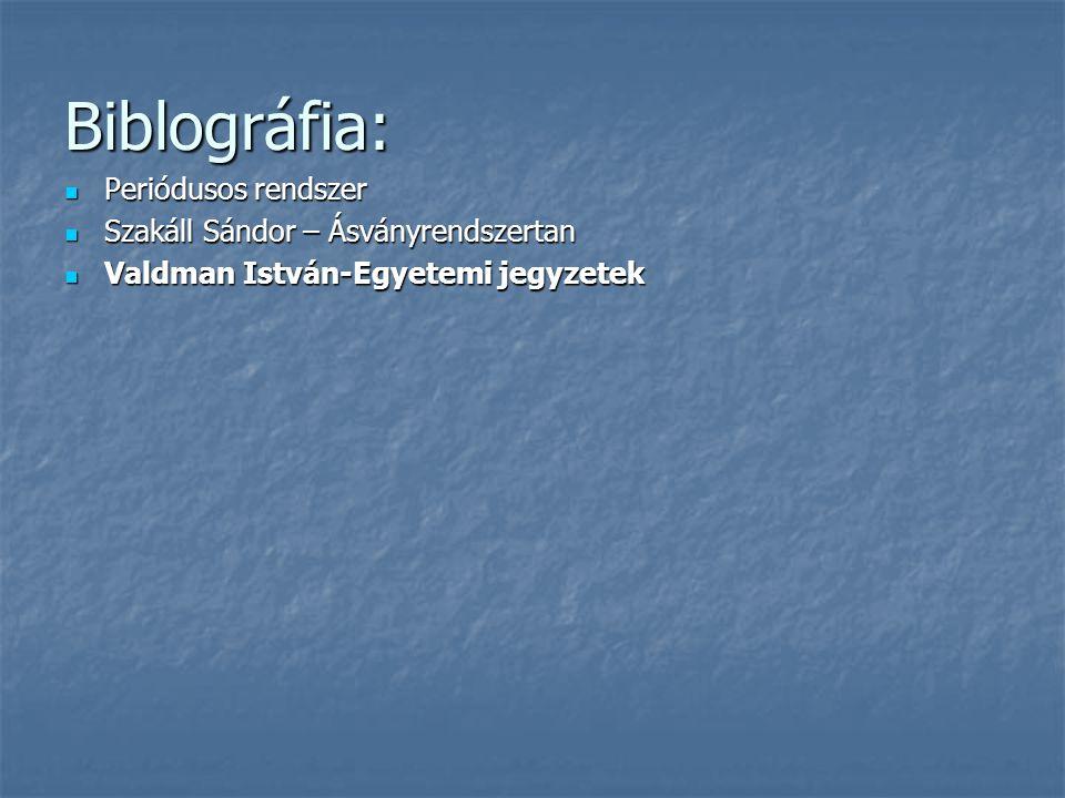 Biblográfia: Periódusos rendszer Periódusos rendszer Szakáll Sándor – Ásványrendszertan Szakáll Sándor – Ásványrendszertan Valdman István-Egyetemi jeg