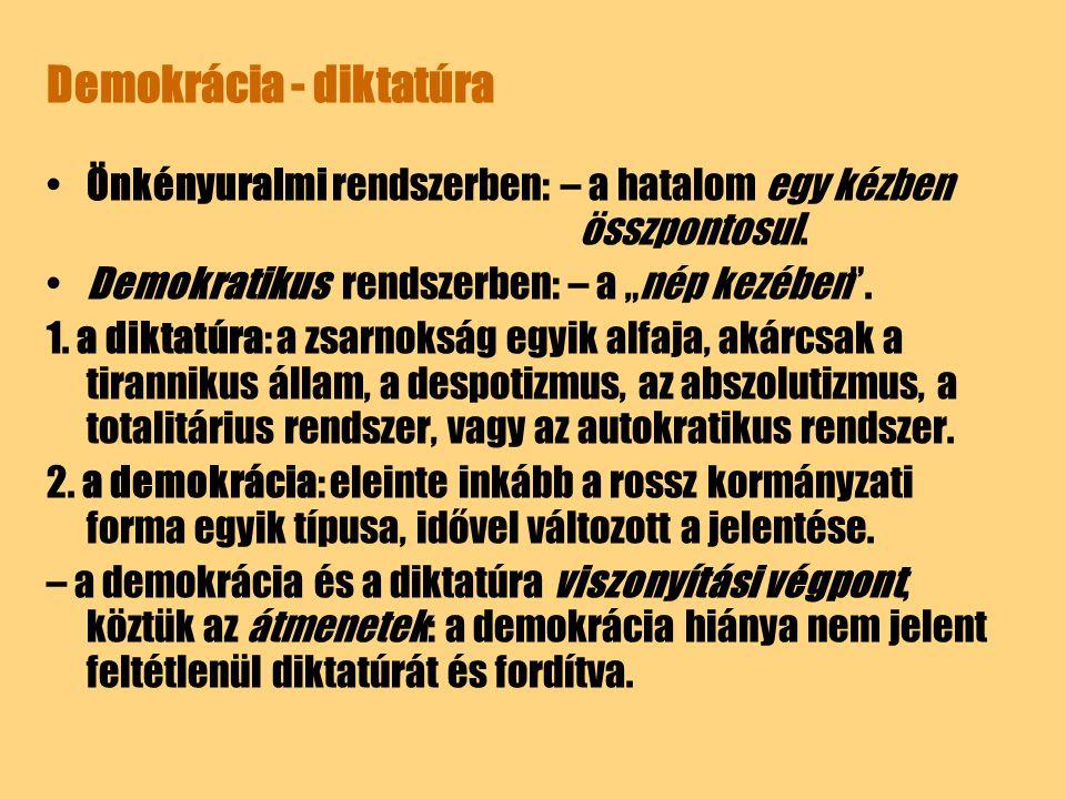 """Demokrácia - diktatúra Önkényuralmi rendszerben: – a hatalom egy kézben összpontosul. Demokratikus rendszerben: – a """"nép kezében"""". 1. a diktatúra: a z"""