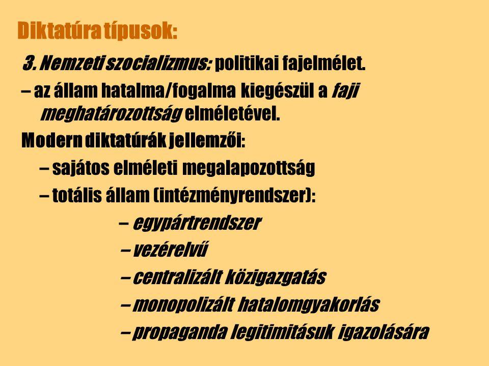 Diktatúra típusok: 3. Nemzeti szocializmus: politikai fajelmélet. – az állam hatalma/fogalma kiegészül a faji meghatározottság elméletével. Modern dik