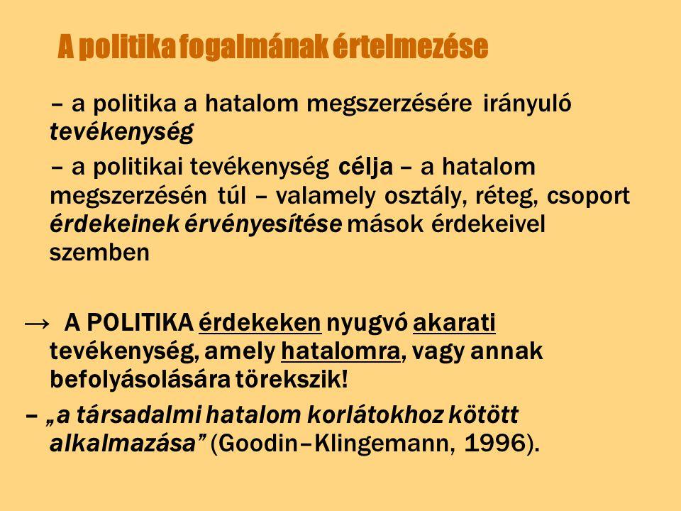 A politika fogalmának értelmezése – a politika a hatalom megszerzésére irányuló tevékenység – a politikai tevékenység célja – a hatalom megszerzésén t