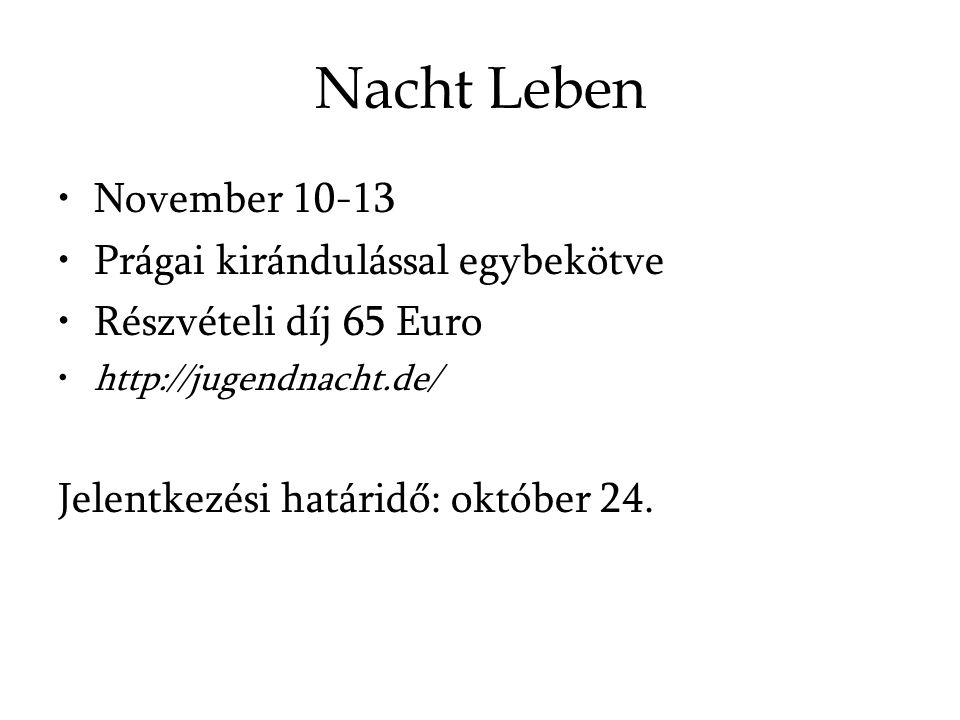 Nacht Leben November 10-13 Prágai kirándulással egybekötve Részvételi díj 65 Euro http://jugendnacht.de/ Jelentkezési határidő: október 24.
