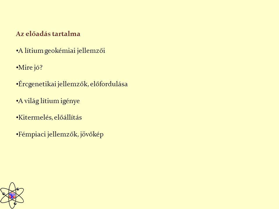 A Li geokémiai jellemzői Kőzetek átlagos Li-tartalma Magmás: 28 ppm, üledékes kőzetekben: 53 ppm Felfedezője Johan August Arfwedson 1817 Fehéres szürke színű alkáli fém Oxidációs állapot +1 Kémiailag aktív, könnyen reakcióba lép, nincs elemi állapotban Litofil elem http://lithiuminvestingnews.com/lithium/ http://fold1.ftt.uni-miskolc.hu/~foldshe/telep01.htm