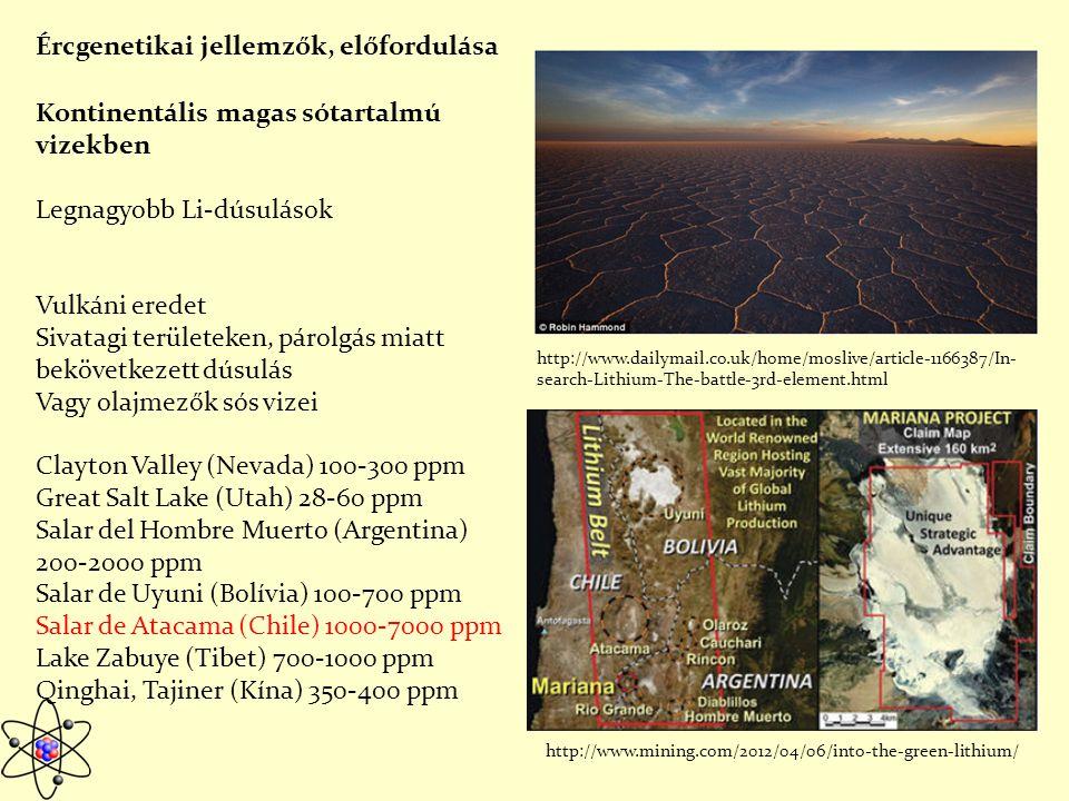 Kontinentális magas sótartalmú vizekben Legnagyobb Li-dúsulások Vulkáni eredet Sivatagi területeken, párolgás miatt bekövetkezett dúsulás Vagy olajmezők sós vizei Clayton Valley (Nevada) 100-300 ppm Great Salt Lake (Utah) 28-60 ppm Salar del Hombre Muerto (Argentina) 200-2000 ppm Salar de Uyuni (Bolívia) 100-700 ppm Salar de Atacama (Chile) 1000-7000 ppm Lake Zabuye (Tibet) 700-1000 ppm Qinghai, Tajiner (Kína) 350-400 ppm Ércgenetikai jellemzők, előfordulása http://www.dailymail.co.uk/home/moslive/article-1166387/In- search-Lithium-The-battle-3rd-element.html http://www.mining.com/2012/04/06/into-the-green-lithium/