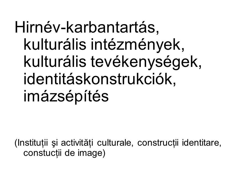Hirnév-karbantartás, kulturális intézmények, kulturális tevékenységek, identitáskonstrukciók, imázsépítés (Instituţii şi activităţi culturale, constru