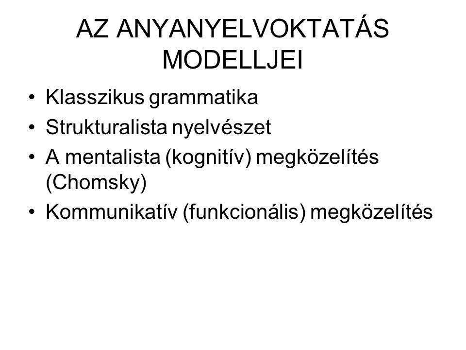 AZ ANYANYELVOKTATÁS MODELLJEI Klasszikus grammatika Strukturalista nyelvészet A mentalista (kognitív) megközelítés (Chomsky) Kommunikatív (funkcionáli