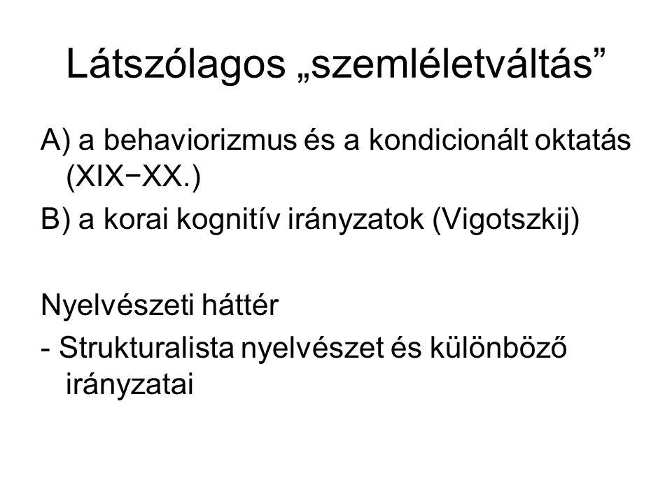 """Látszólagos """"szemléletváltás"""" A) a behaviorizmus és a kondicionált oktatás (XIX−XX.) B) a korai kognitív irányzatok (Vigotszkij) Nyelvészeti háttér -"""