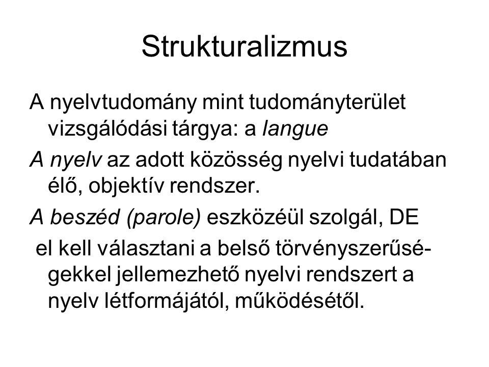 Strukturalizmus A nyelvtudomány mint tudományterület vizsgálódási tárgya: a langue A nyelv az adott közösség nyelvi tudatában élő, objektív rendszer.