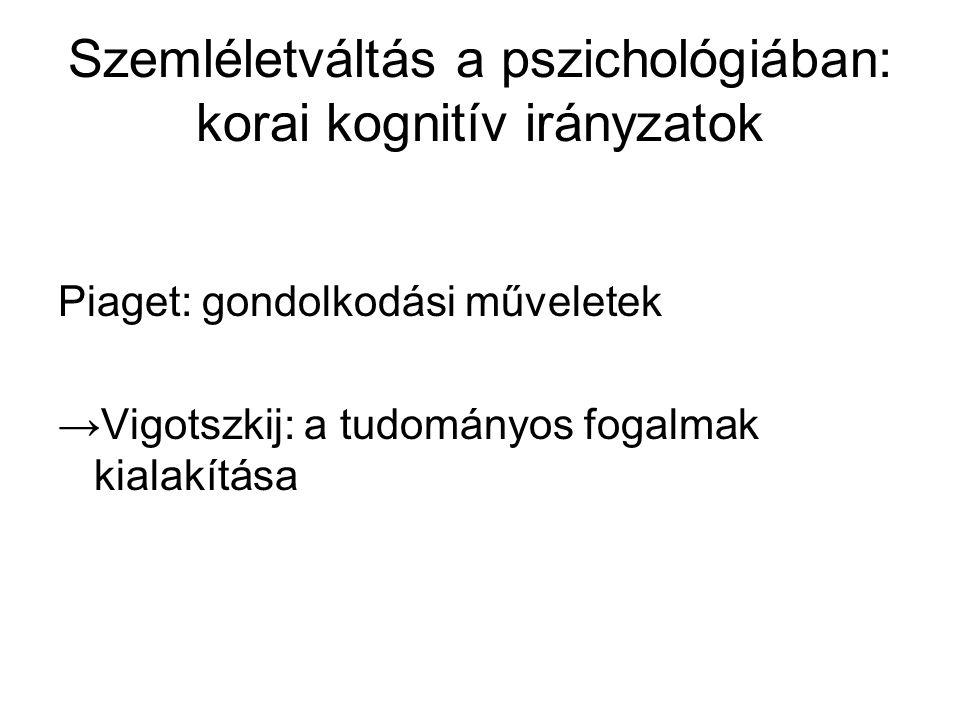 Szemléletváltás a pszichológiában: korai kognitív irányzatok Piaget: gondolkodási műveletek →Vigotszkij: a tudományos fogalmak kialakítása