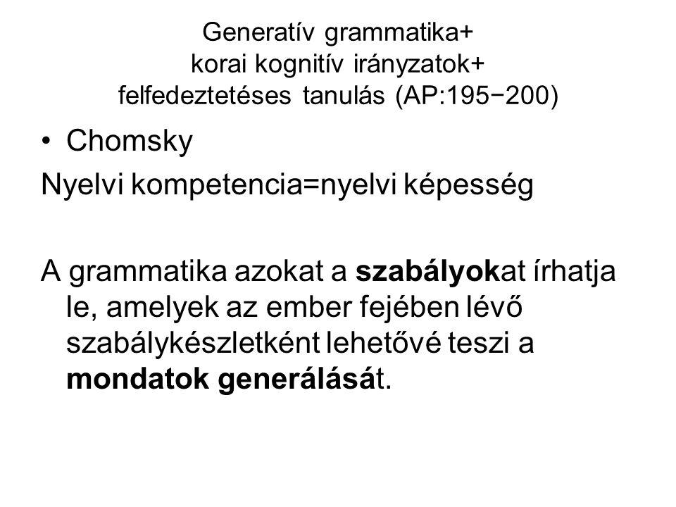 Generatív grammatika+ korai kognitív irányzatok+ felfedeztetéses tanulás (AP:195−200) Chomsky Nyelvi kompetencia=nyelvi képesség A grammatika azokat a