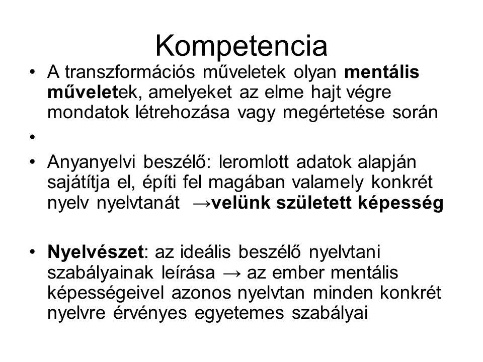 Kompetencia A transzformációs műveletek olyan mentális műveletek, amelyeket az elme hajt végre mondatok létrehozása vagy megértetése során Anyanyelvi