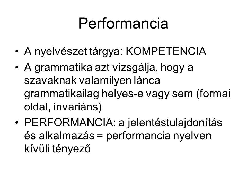 Performancia A nyelvészet tárgya: KOMPETENCIA A grammatika azt vizsgálja, hogy a szavaknak valamilyen lánca grammatikailag helyes-e vagy sem (formai o
