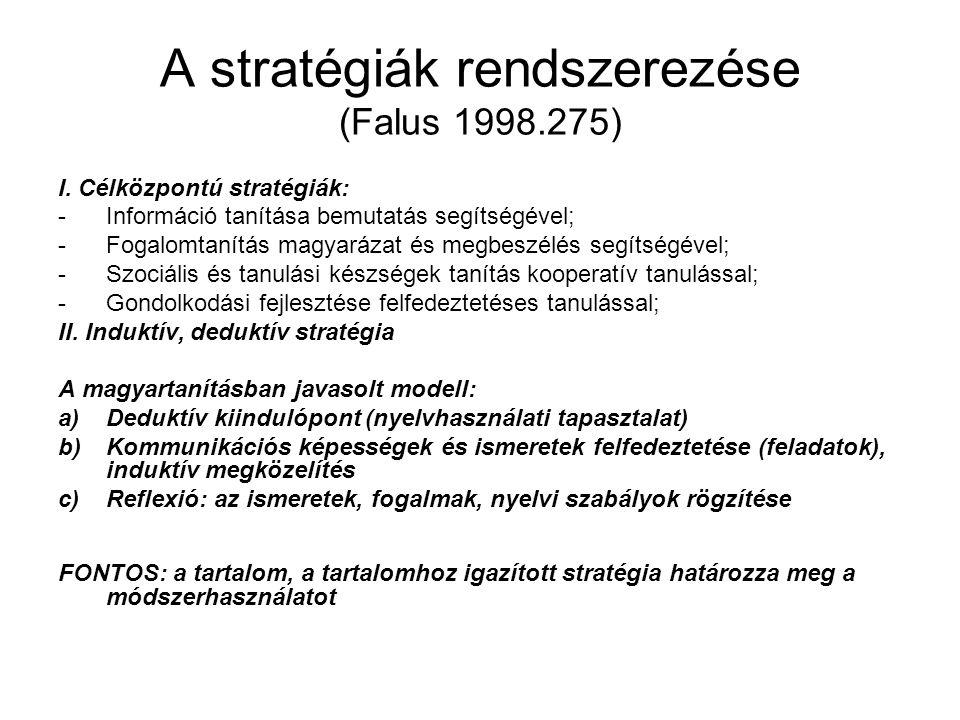 A stratégiák rendszerezése (Falus 1998.275) I. Célközpontú stratégiák: -Információ tanítása bemutatás segítségével; -Fogalomtanítás magyarázat és megb