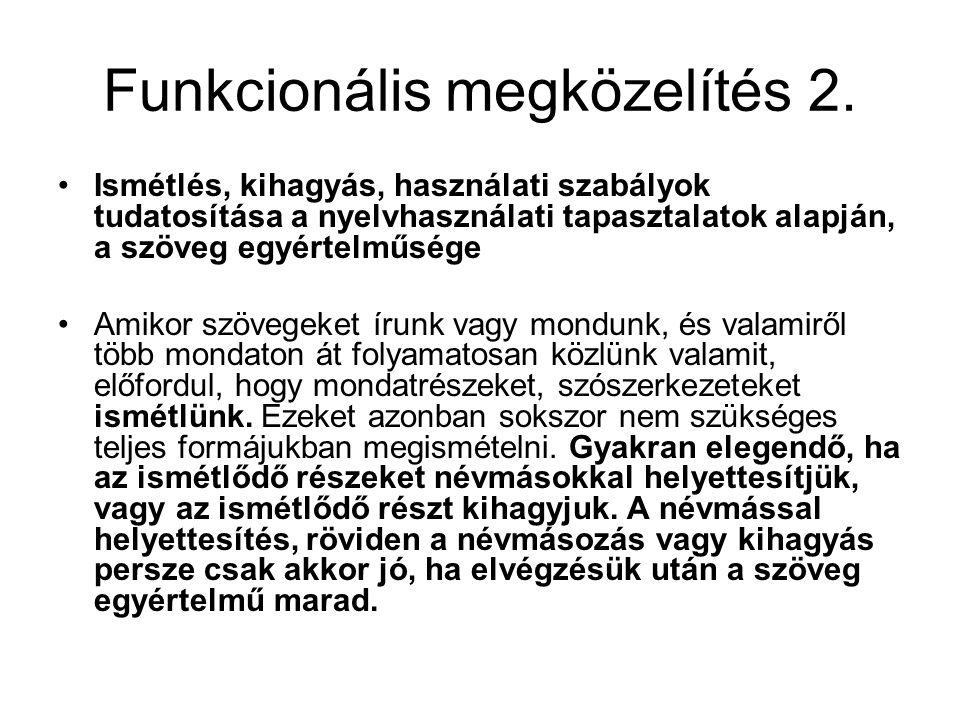 Funkcionális megközelítés 2. Ismétlés, kihagyás, használati szabályok tudatosítása a nyelvhasználati tapasztalatok alapján, a szöveg egyértelműsége Am