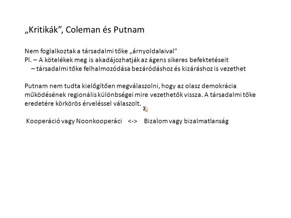 """""""Kritikák , Coleman és Putnam Nem foglalkoztak a társadalmi tőke """"árnyoldalaival Pl."""