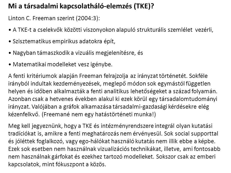 Mi a társadalmi kapcsolatháló-elemzés (TKE). Linton C.