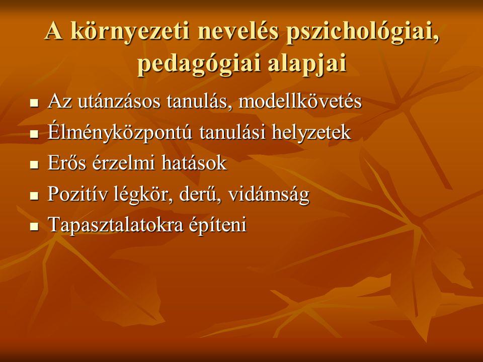 A környezeti nevelés pszichológiai, pedagógiai alapjai Az utánzásos tanulás, modellkövetés Az utánzásos tanulás, modellkövetés Élményközpontú tanulási helyzetek Élményközpontú tanulási helyzetek Erős érzelmi hatások Erős érzelmi hatások Pozitív légkör, derű, vidámság Pozitív légkör, derű, vidámság Tapasztalatokra építeni Tapasztalatokra építeni