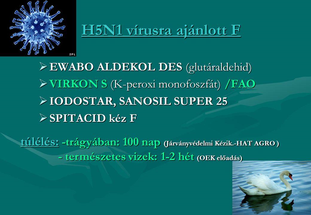 16 H5N1 vírusra ajánlott F  EWABO ALDEKOL DES (glutáraldehid)  VIRKON S (K-peroxi monofoszfát) /FAO  IODOSTAR, SANOSIL SUPER 25  SPITACID kéz F tú