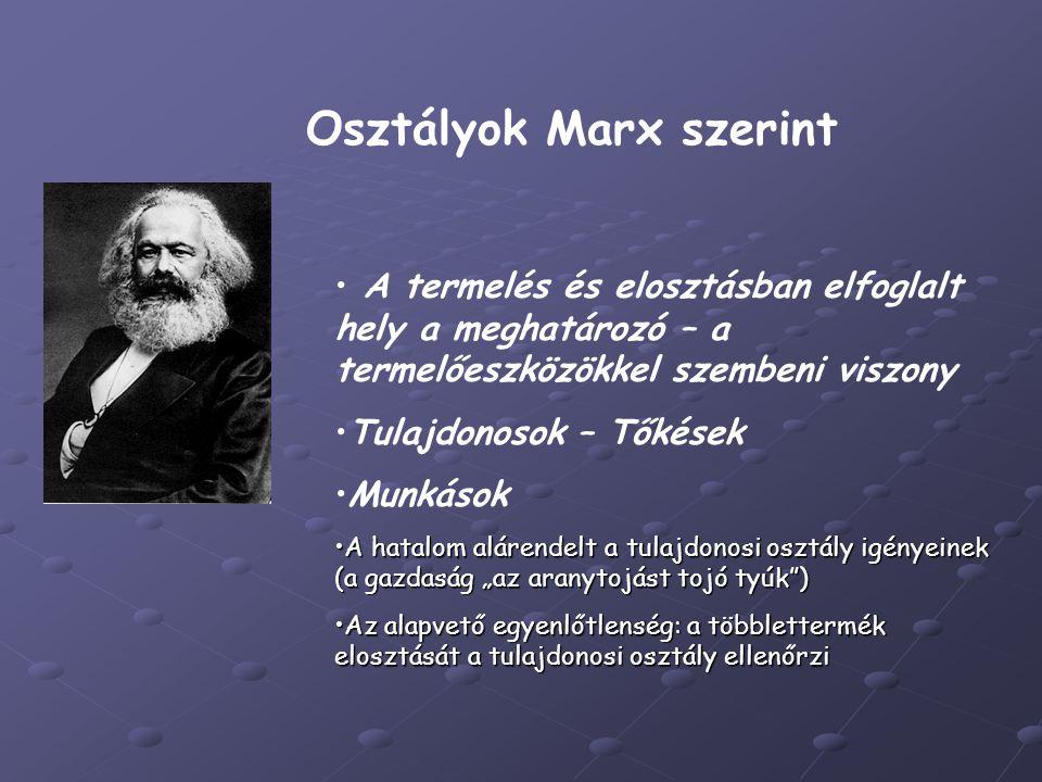 Osztályok Marx szerint A termelés és elosztásban elfoglalt hely a meghatározó – a termelőeszközökkel szembeni viszony Tulajdonosok – Tőkések Munkások
