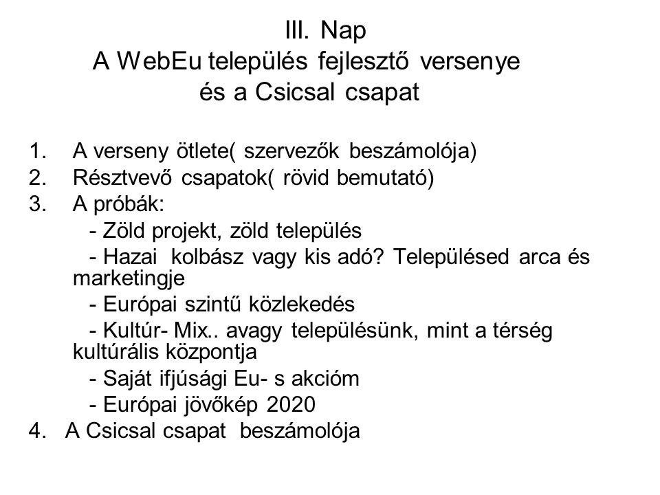 III. Nap A WebEu település fejlesztő versenye és a Csicsal csapat 1.A verseny ötlete( szervezők beszámolója) 2.Résztvevő csapatok( rövid bemutató) 3.A