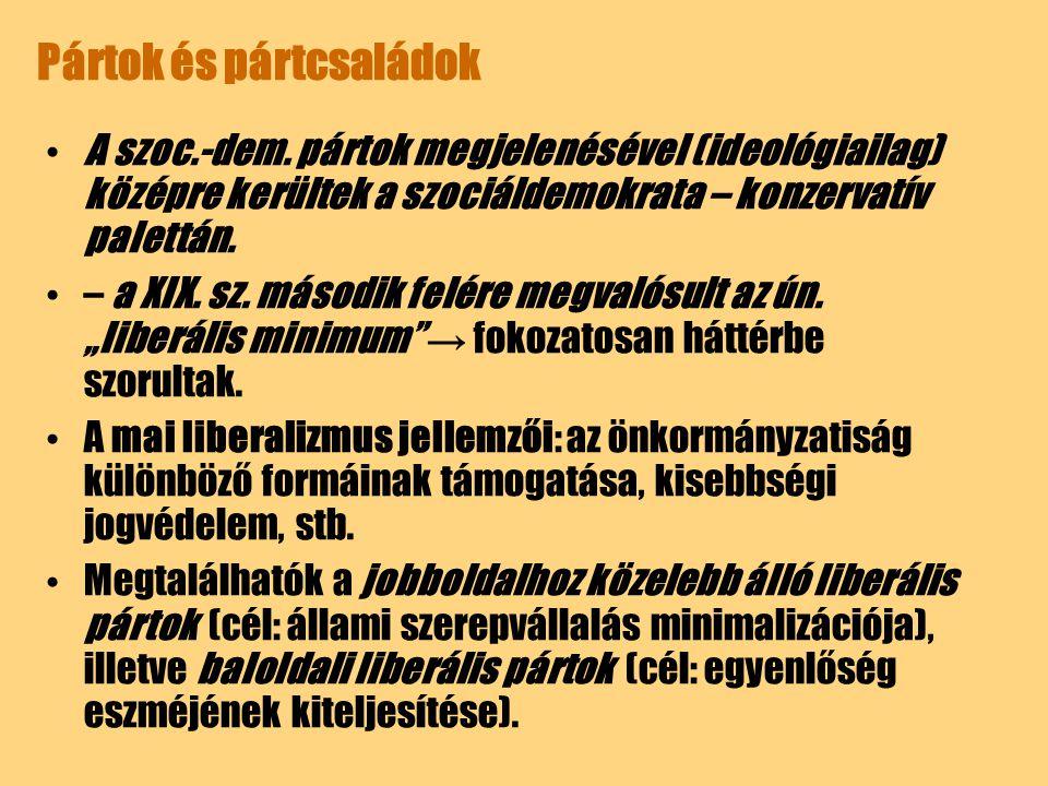 Pártok és pártcsaládok A szoc.-dem. pártok megjelenésével (ideológiailag) középre kerültek a szociáldemokrata – konzervatív palettán. – a XIX. sz. más