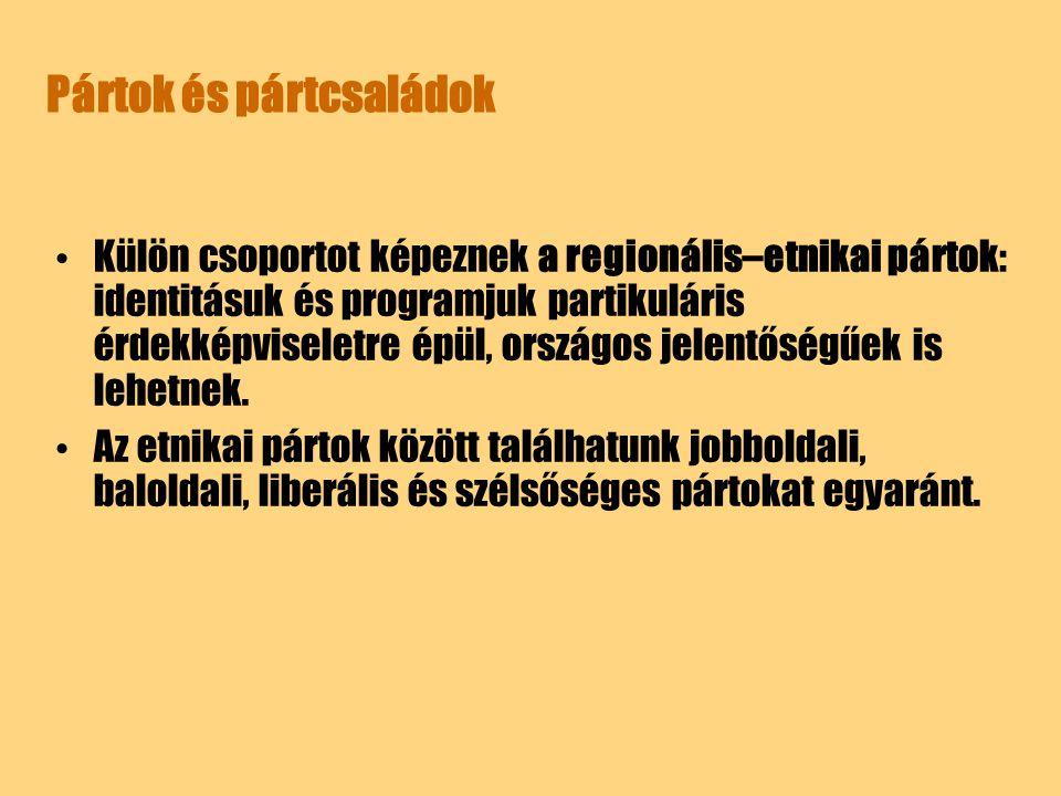Pártok és pártcsaládok Külön csoportot képeznek a regionális–etnikai pártok: identitásuk és programjuk partikuláris érdekképviseletre épül, országos j