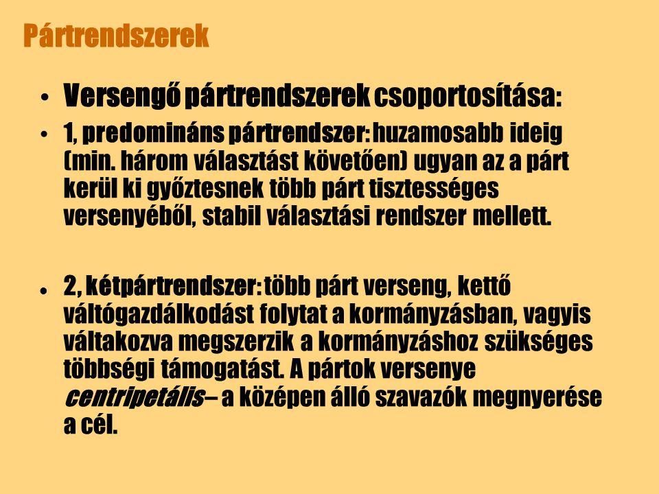 Pártrendszerek Versengő pártrendszerek csoportosítása: 1, predomináns pártrendszer: huzamosabb ideig (min. három választást követően) ugyan az a párt