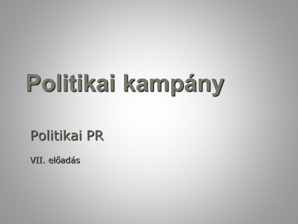 Politikai kampány Politikai PR VII. előadás