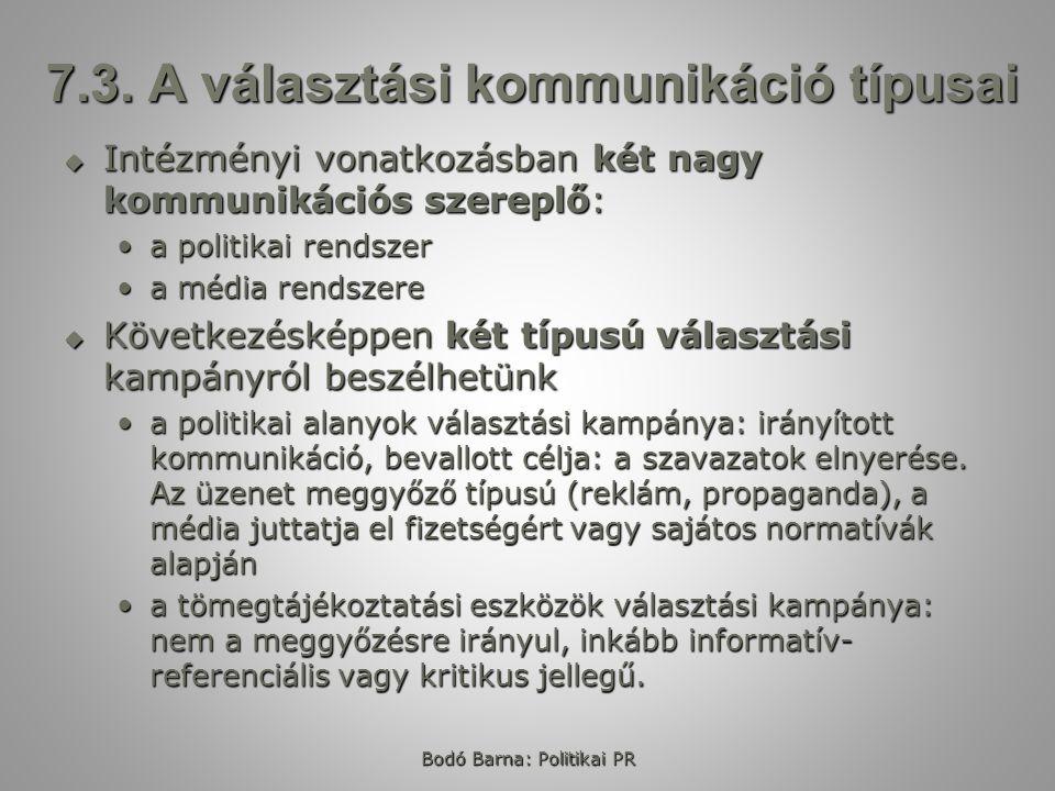 Bodó Barna: Politikai PR 7.3. A választási kommunikáció típusai  Intézményi vonatkozásban két nagy kommunikációs szereplő: a politikai rendszera poli