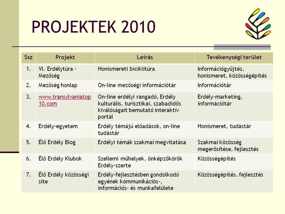 PROJEKTEK 2010 SszProjektLeírásTevékenységi terület 1.VI.