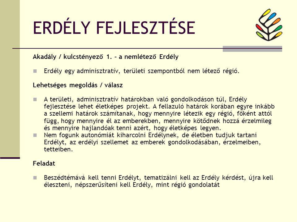 ERDÉLY FEJLESZTÉSE Akadály / kulcstényező 1.