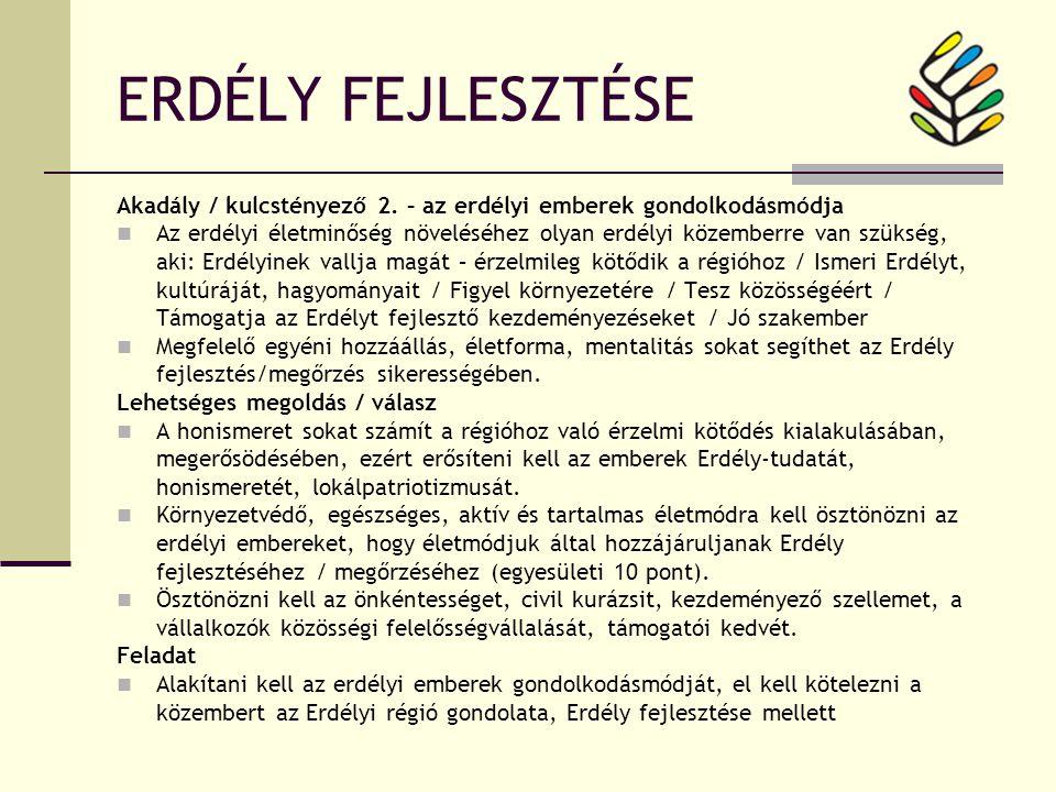 ERDÉLY FEJLESZTÉSE Akadály / kulcstényező 2.