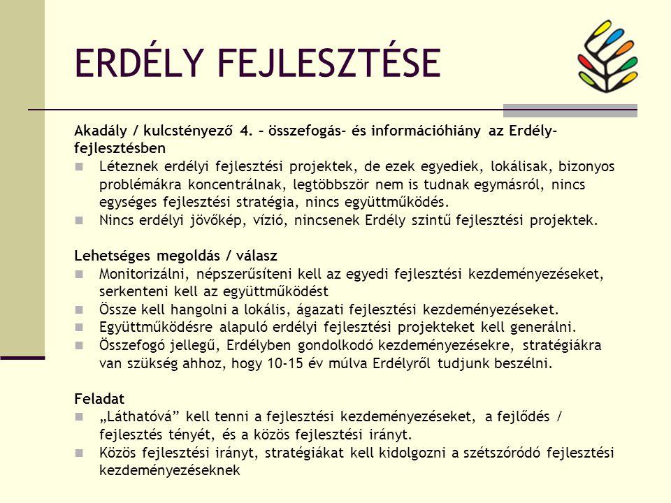 ERDÉLY FEJLESZTÉSE Akadály / kulcstényező 4.