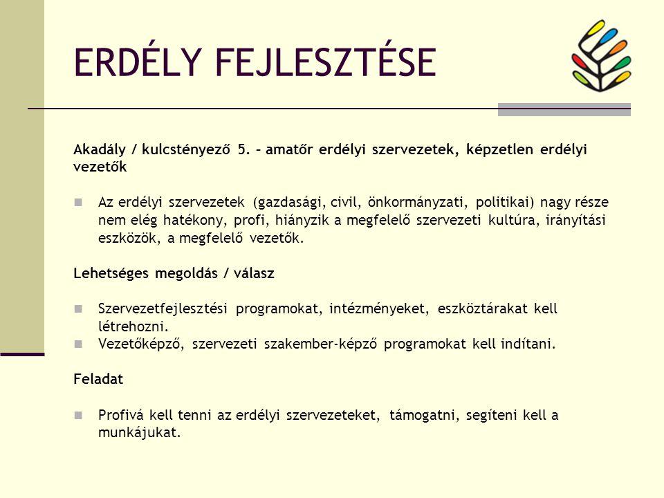 ERDÉLY FEJLESZTÉSE Akadály / kulcstényező 5.