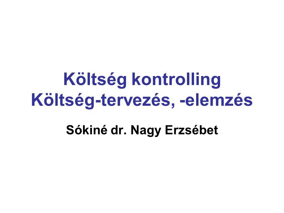 Költség kontrolling Költség-tervezés, -elemzés Sókiné dr. Nagy Erzsébet