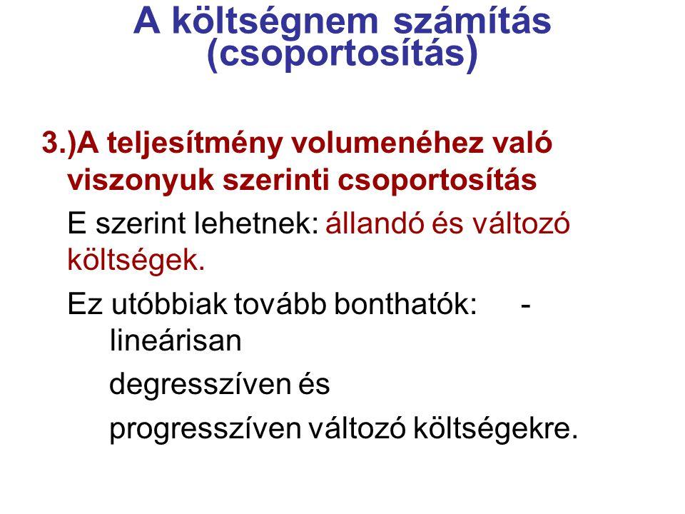 A költségnem számítás (csoportosítás ) 4.)Az elszámolás típusa szerint Elsődleges (primer) kts.
