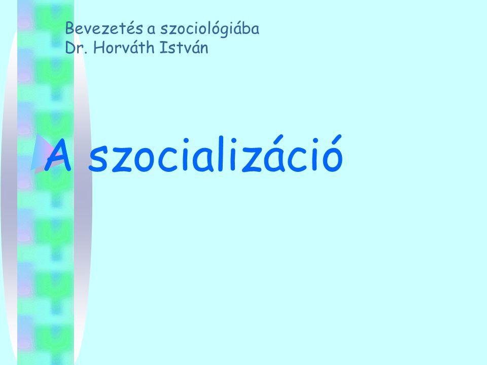 A szocializáció Bevezetés a szociológiába Dr. Horváth István