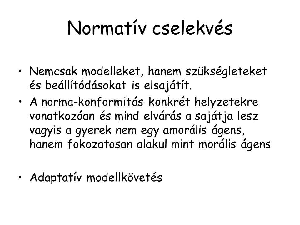 Normatív cselekvés Nemcsak modelleket, hanem szükségleteket és beállítódásokat is elsajátít. A norma-konformitás konkrét helyzetekre vonatkozóan és mi
