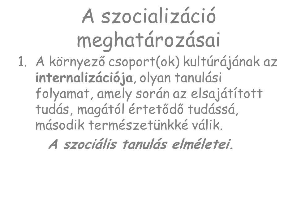 Primér szocializáció ÖNKORLÁTOZÁS -a szükségleteknek a társadalom által elfogadott/meghatározott formákban történő, mások viselkedéséhez kötött kielégítése.