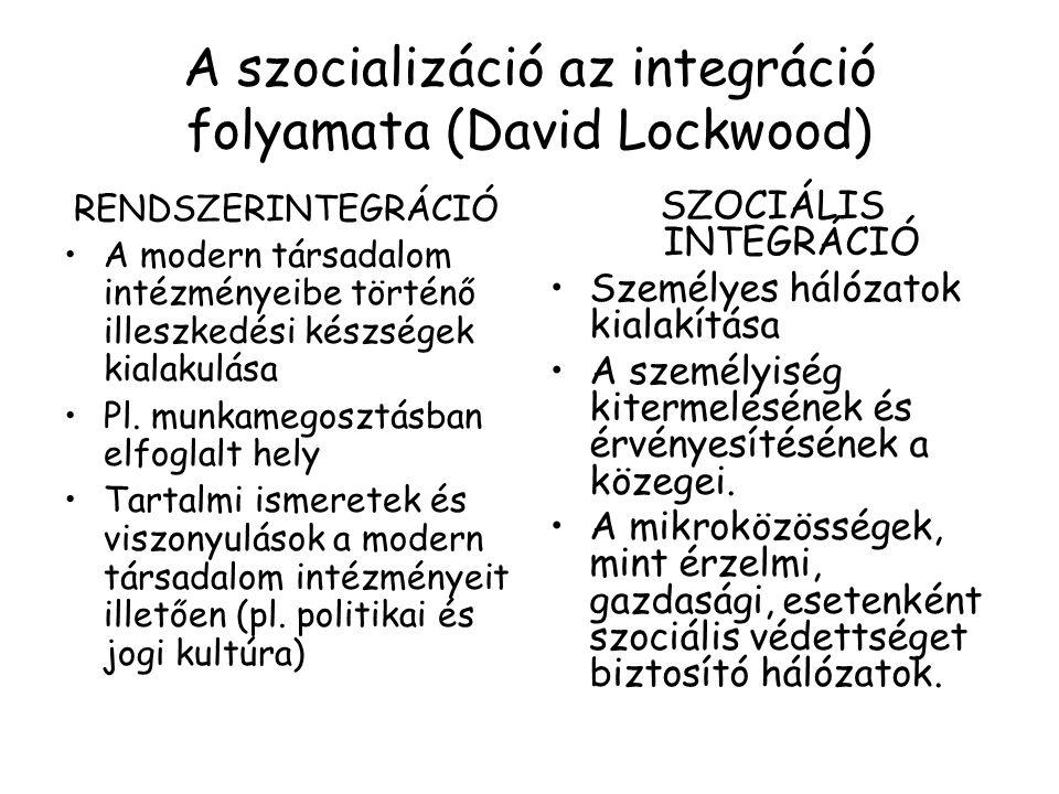 A szocializáció az integráció folyamata (David Lockwood) RENDSZERINTEGRÁCIÓ A modern társadalom intézményeibe történő illeszkedési készségek kialakulá