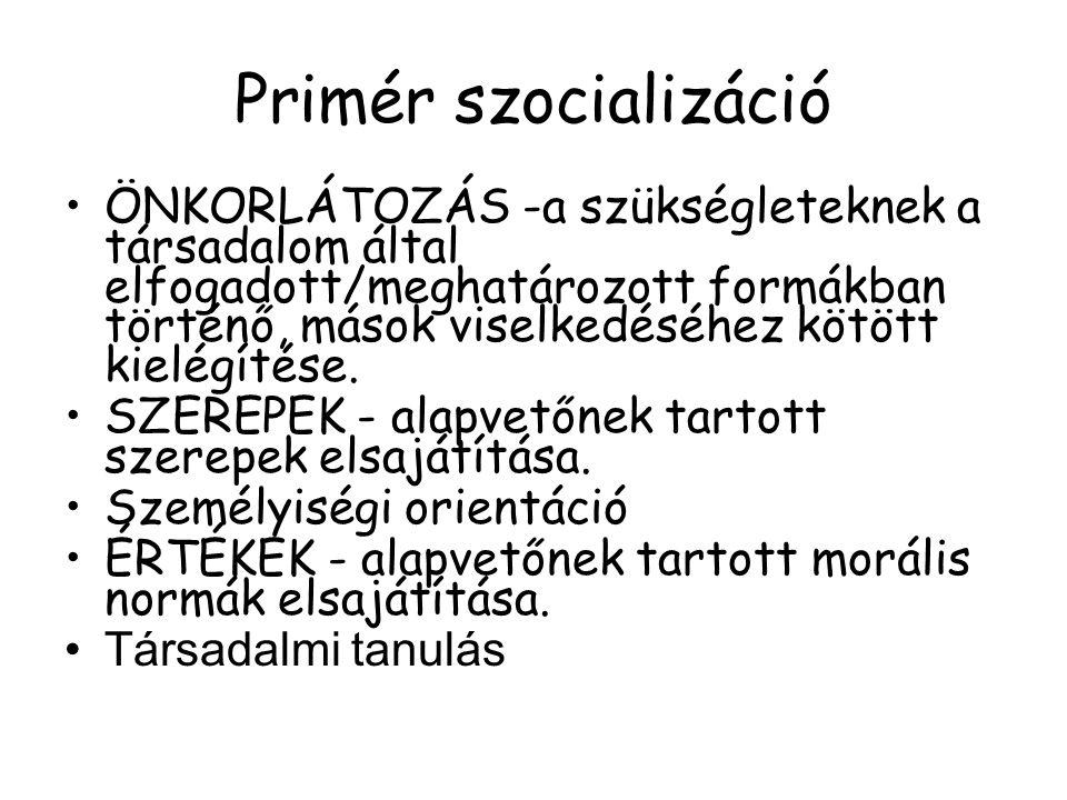 Primér szocializáció ÖNKORLÁTOZÁS -a szükségleteknek a társadalom által elfogadott/meghatározott formákban történő, mások viselkedéséhez kötött kielég