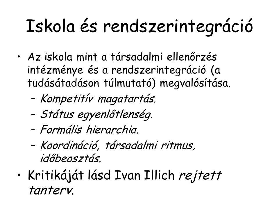 Iskola és rendszerintegráció Az iskola mint a társadalmi ellenőrzés intézménye és a rendszerintegráció (a tudásátadáson túlmutató) megvalósítása. –Kom