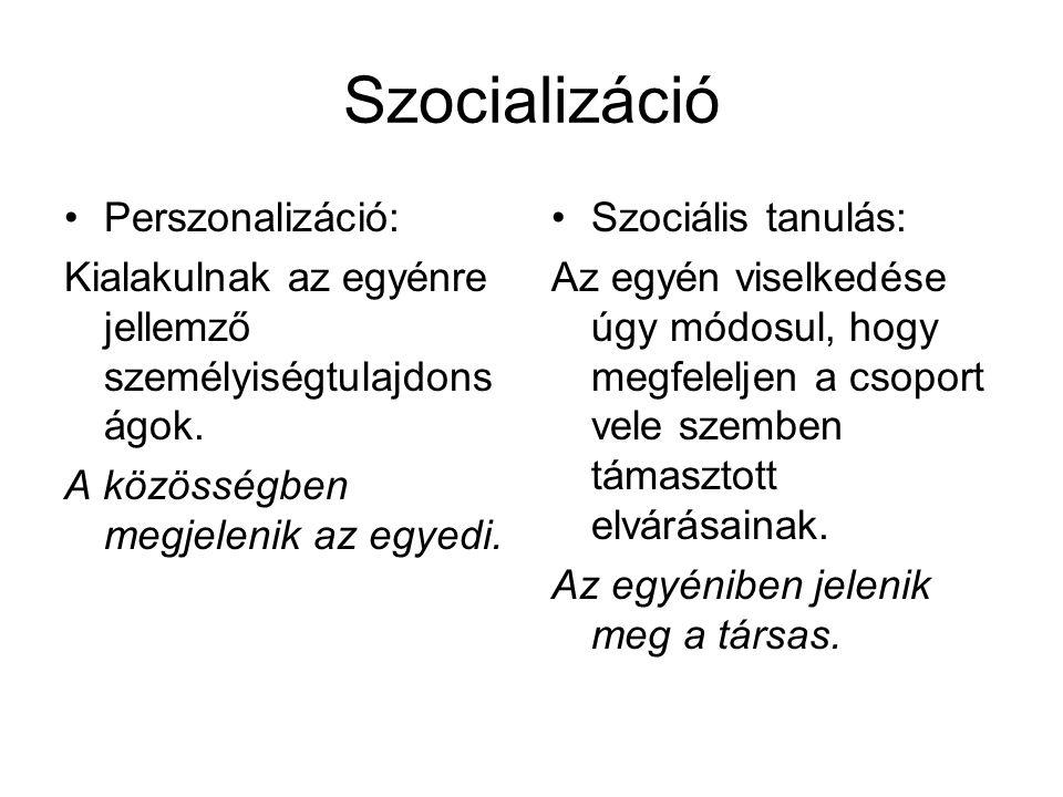 Szocializáció Perszonalizáció: Kialakulnak az egyénre jellemző személyiségtulajdons ágok. A közösségben megjelenik az egyedi. Szociális tanulás: Az eg