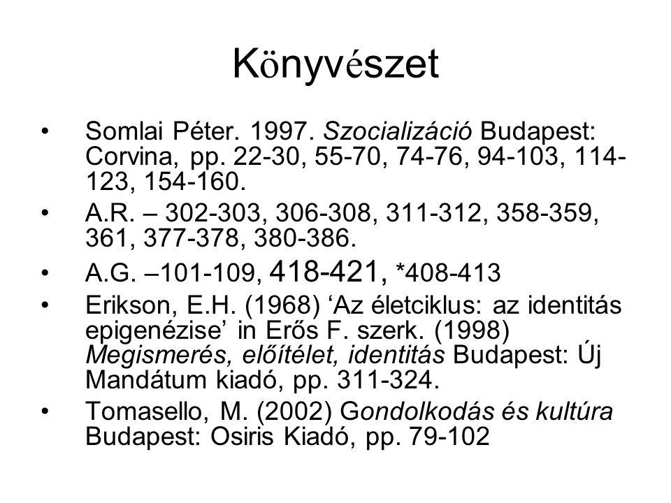 K ö nyv é szet Somlai Péter. 1997. Szocializáció Budapest: Corvina, pp. 22-30, 55-70, 74-76, 94-103, 114- 123, 154-160. A.R. – 302-303, 306-308, 311-3